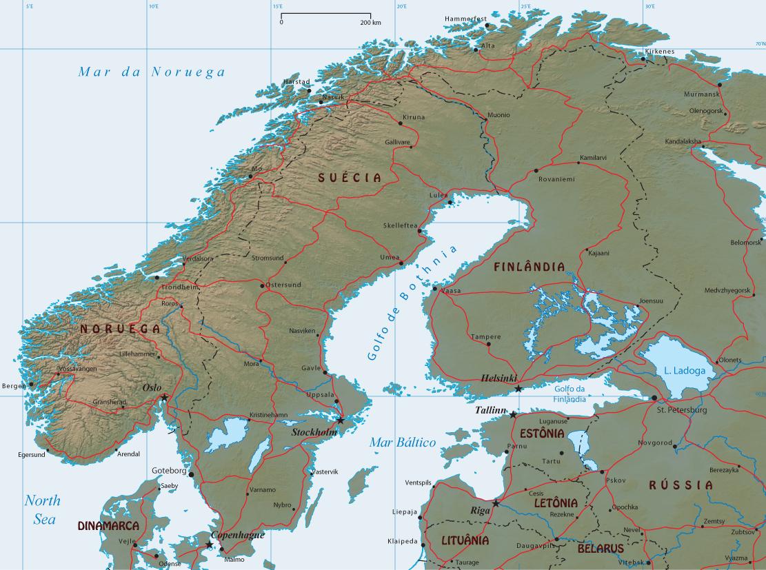 Mapa do Mar Baltico, Países