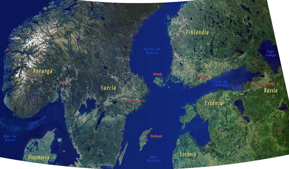 Imagem de Parte da Escandinávia e Região do Mar Báltico (NASA)