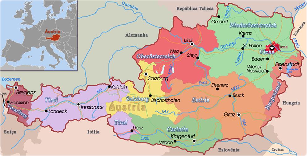 Mapa Politico De Austria.Dados Da Austria