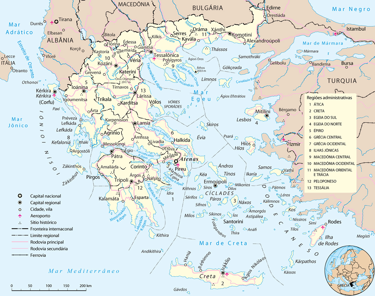 Mapa Político da Grécia