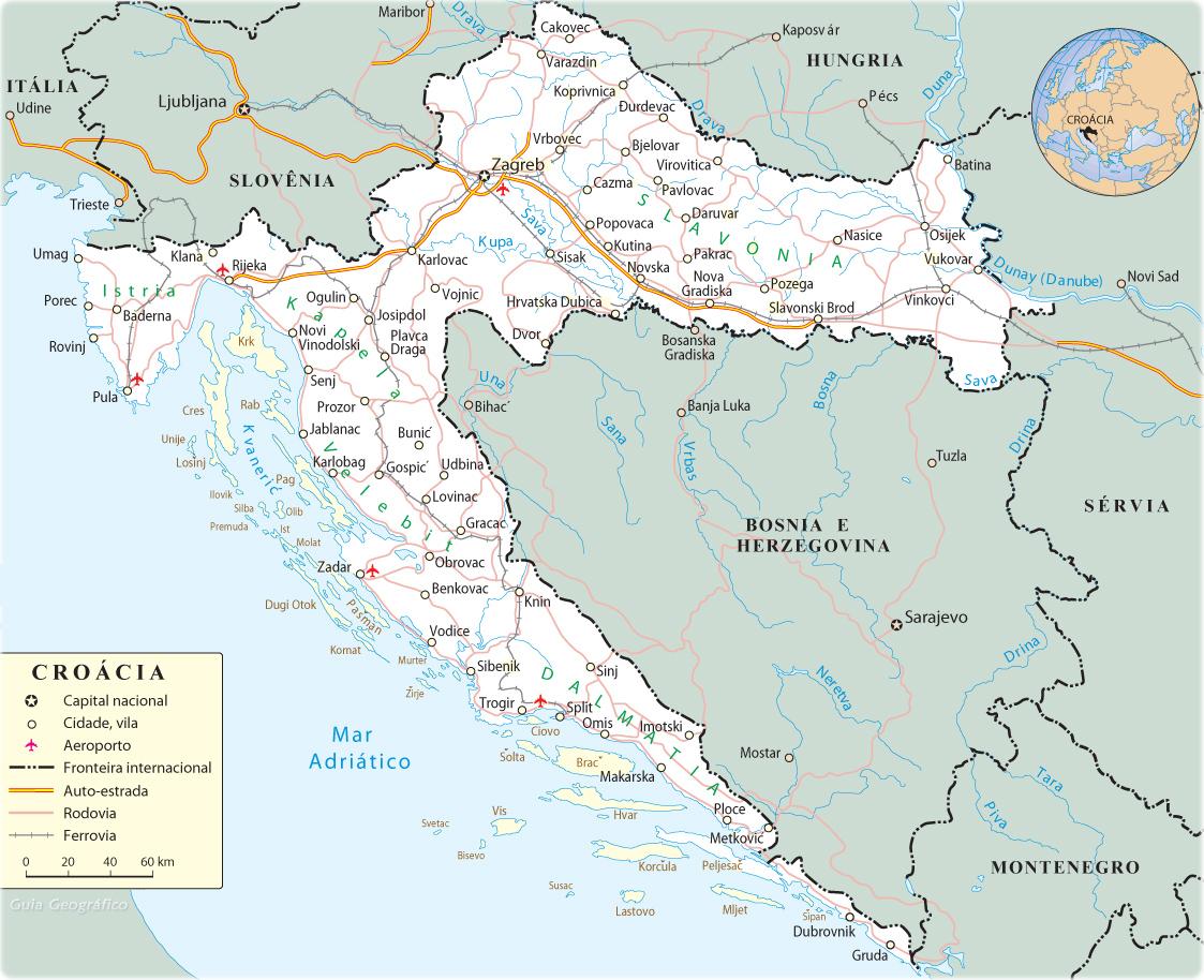 Mapa Da Croacia Mapas Da Europa