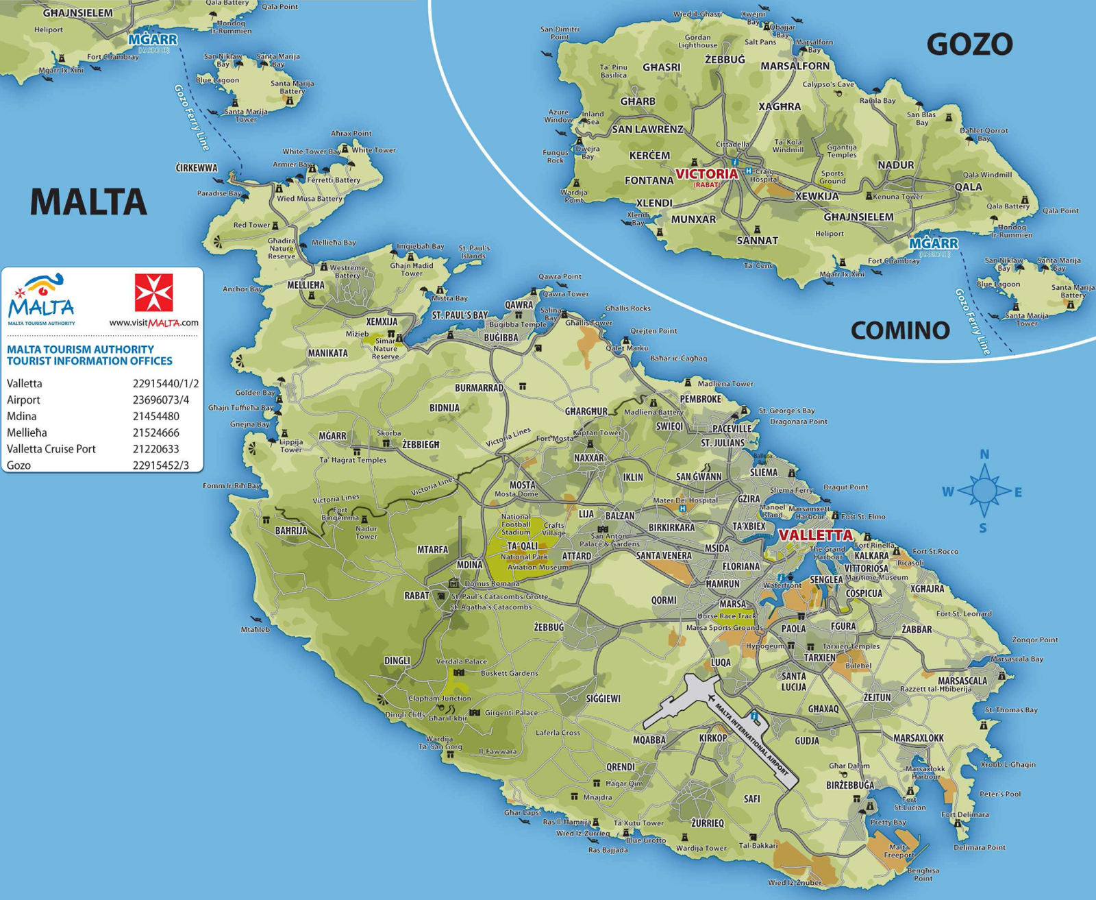 ilha malta mapa Mapa Turístico de Malta ilha malta mapa