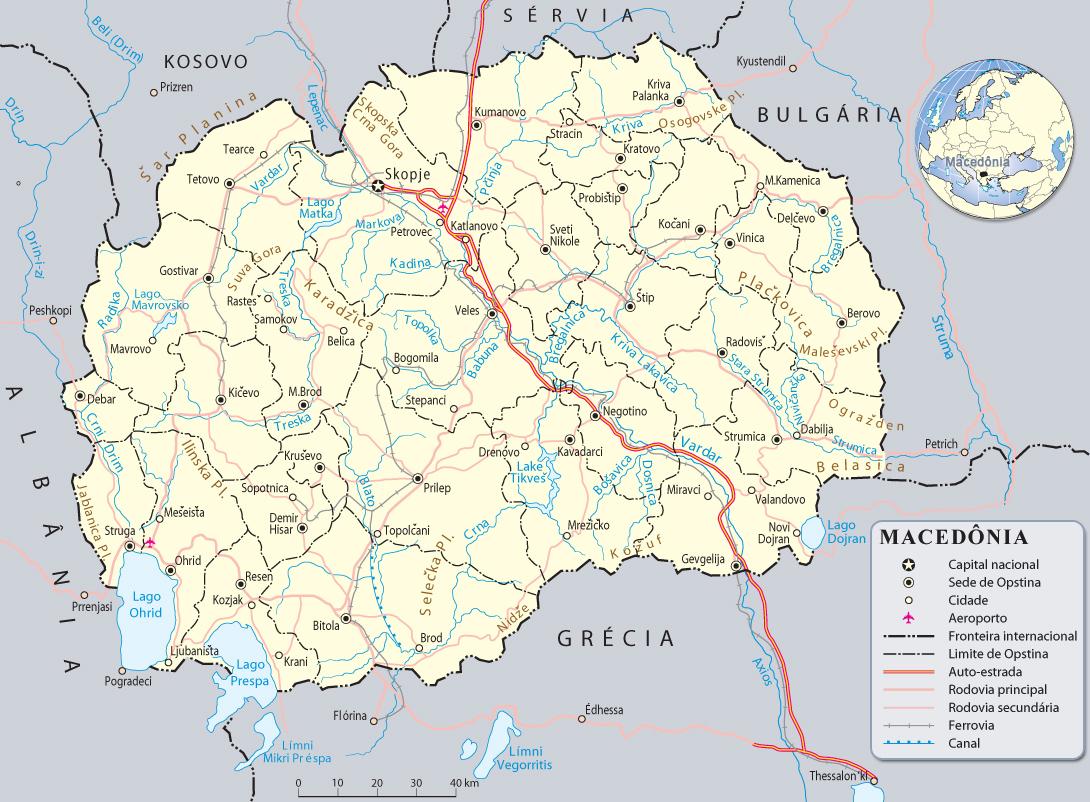 mapa da macedonia Mapa da Macedonia, Europa mapa da macedonia
