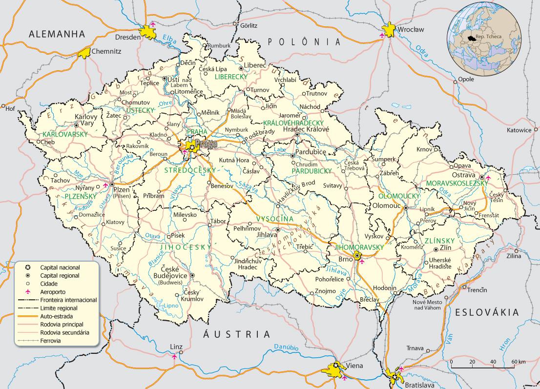 onde fica praga no mapa Mapa da Republica Tcheca   Praga onde fica praga no mapa