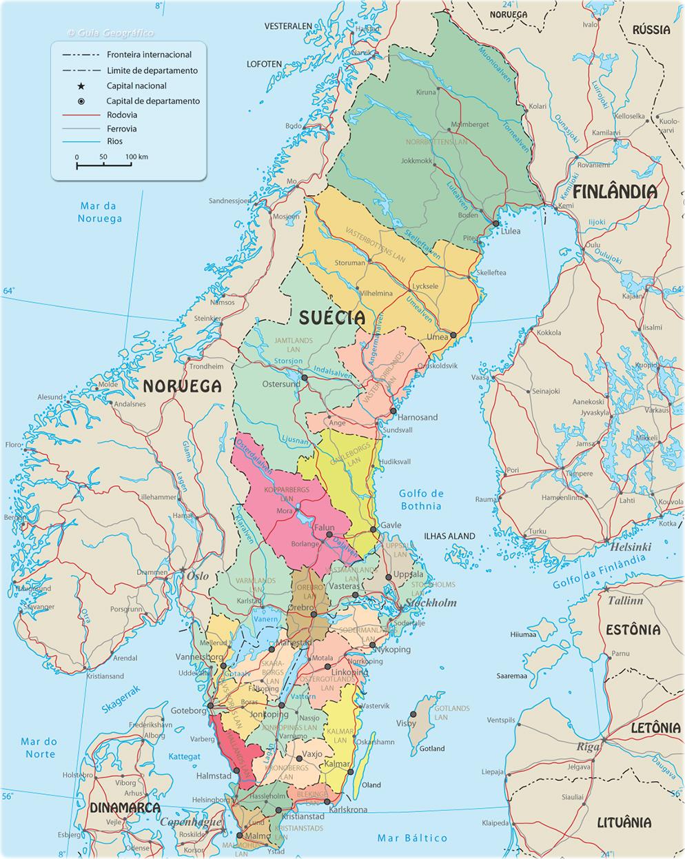 Mapa Politico De Suecia.Mapa Politico Da Suecia